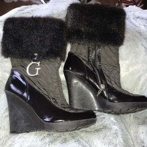 Guess by Marciano Faux Fur Quilted Brown Boots